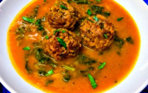 Pumpkin Soup with Kale and Kafta