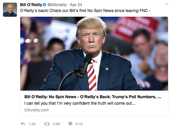 Credits: @billoreilly Twitter feed