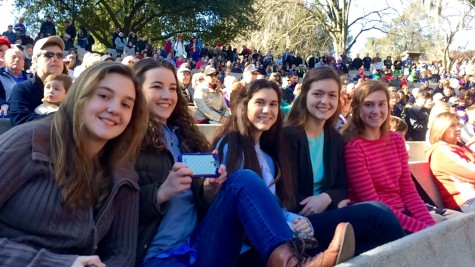 From left to right: Ashley Sellers (eighth grade MODG student), Caroline Stearns, Julie Campeaux (tenth grade MODG student), Lauren Sellers (tenth grade MODG student), and Kimberly Sellers (Eleventh grade MODG student) all listening to Governor Jindal speak.