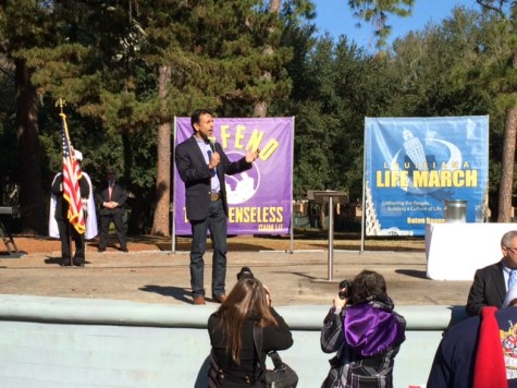 Gov. Jindal speaking before the march in the LSU amphitheater.