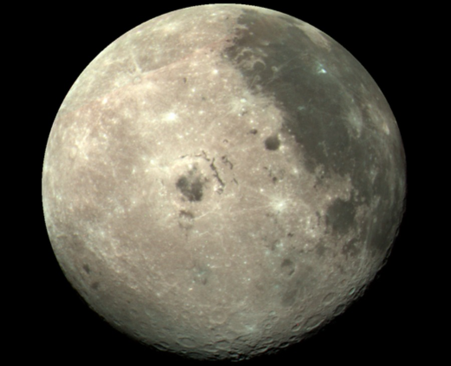 The moon as seen from the Galileo spacecraft.