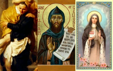 From left to right, St. Camillus de Lellis, St. William of Gellone, St. Hedwig of Silesia