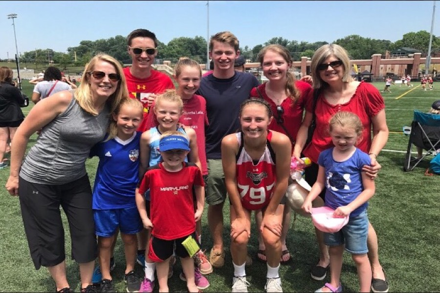 Family picture including Lillian's aunt, cousin, and second cousin at  Towson University, Under Armour All-America Uncommitted game, July 2017.