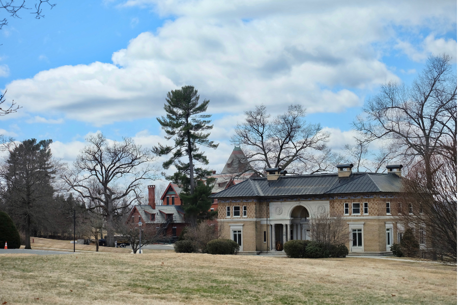 The building shown in the front will become faculty offices next year. In the background are the Tracy Student Center and Dolben Library.
