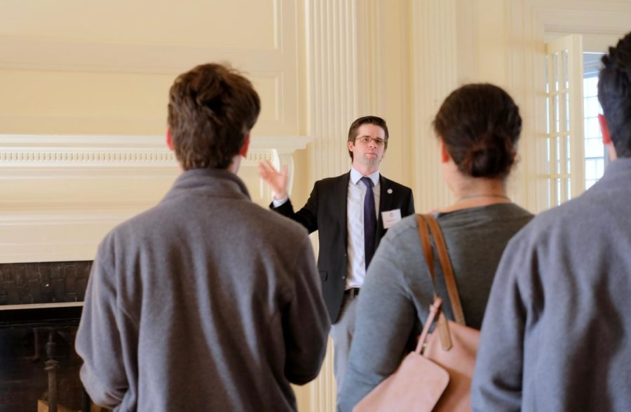 Senior Admission Counselor, Pat Cross, gives a tour of the New England campus at the open house.