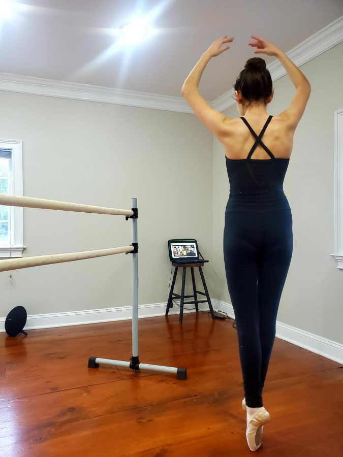 Not even quarantine can impede the discipline of the ballerina. This ballerina is attending class from home on Zoom.