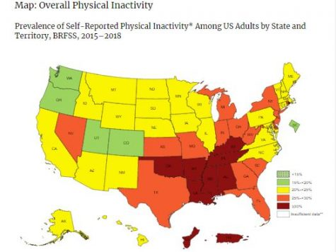 CDC map shows how active the population is in each state.
