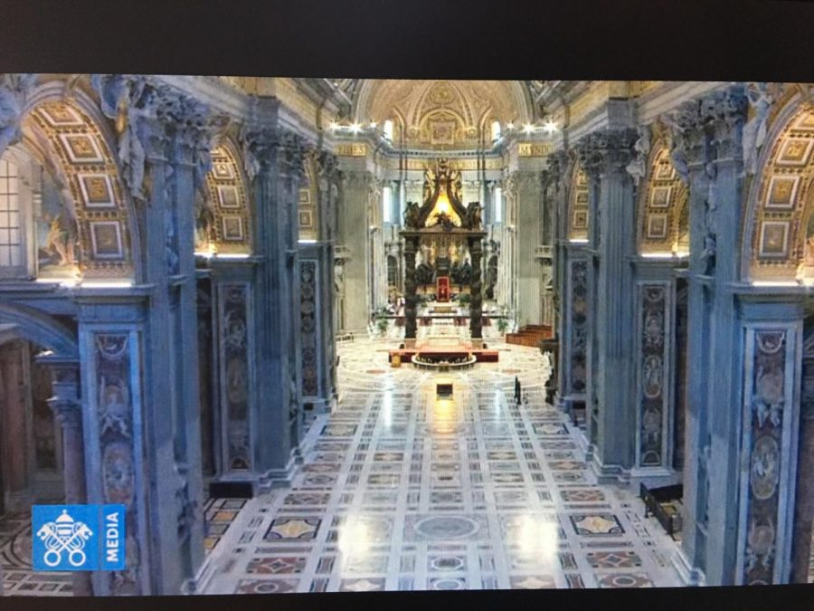 All Masses remain cancelled in Rome. This is Holy Thursday Mass with a handful of people attending.