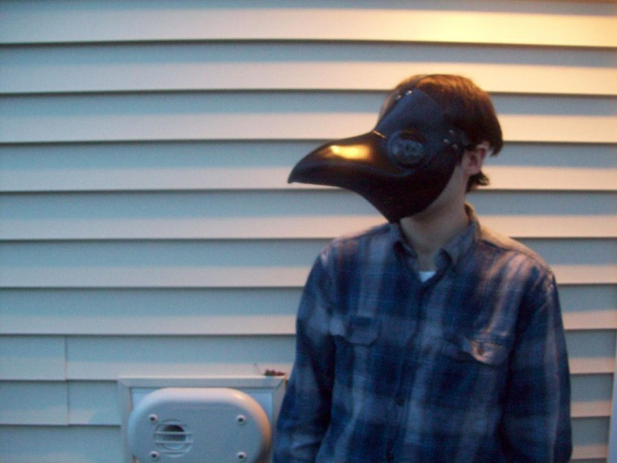 The doctor is in: my older brother Paul has recently obtained a plague doctor mask. I wonder how this will go over at the supermarket?