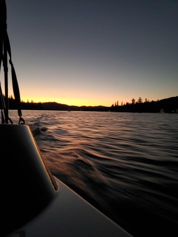 Sunset cruise at Bass Lake