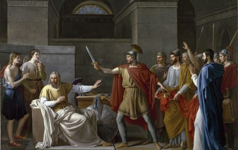 A painting by Juan Antonio de Ribera of Wamba renouncing the crown when he was first asked to be king.