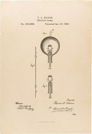 Thomas Edison's patent for the light bulb.