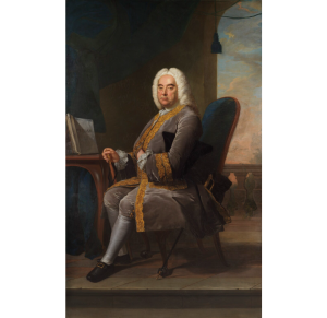 A portrait by James Hudson of George Friedrich Handel, with the score for the Messiah in front of him.